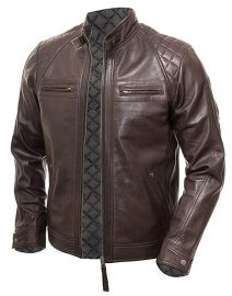 Blackish Mens Vintage Shade Quilted Padded Wax Jacket
