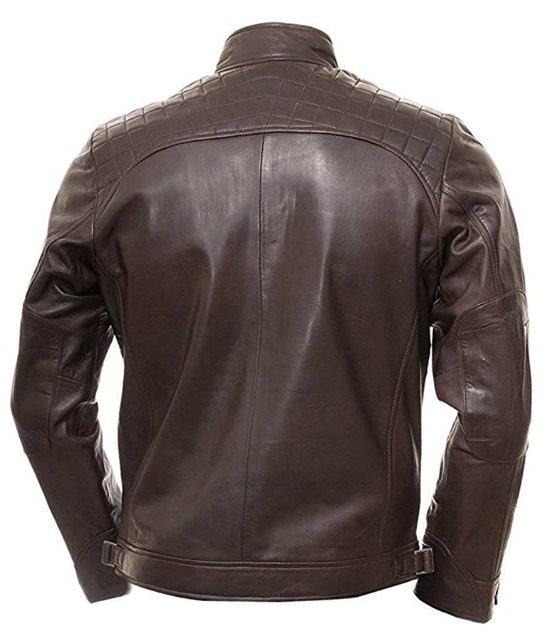 Men/'s Vintage Shade Quilted Padded Wax Real Leather Biker Jacket