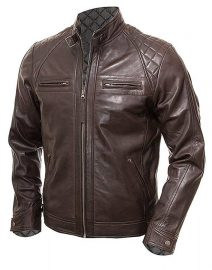 Blackish Mens Vintage Shade Quilted Padded Wax Jacket Front