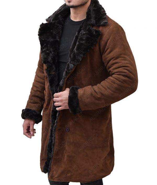 Brown-Suede-Shearling-Coat