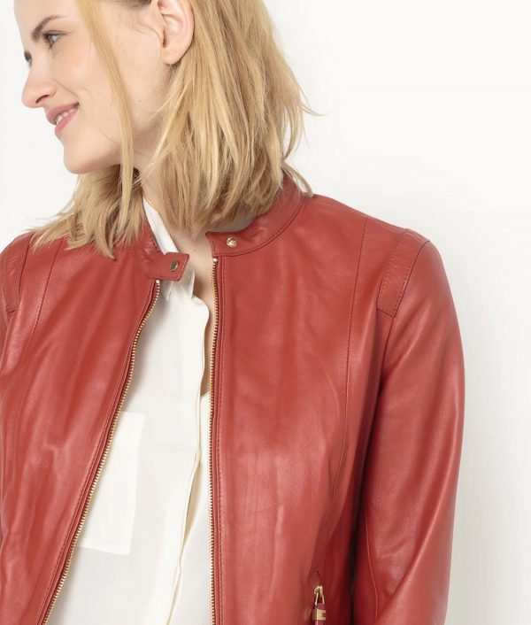 Brick Red Hooded Bomber Jacket