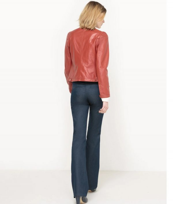 Brick Red Bomber Leather Jacket For Womens