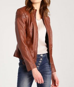 Womens-Brown-Cafe-Racer-Jacket
