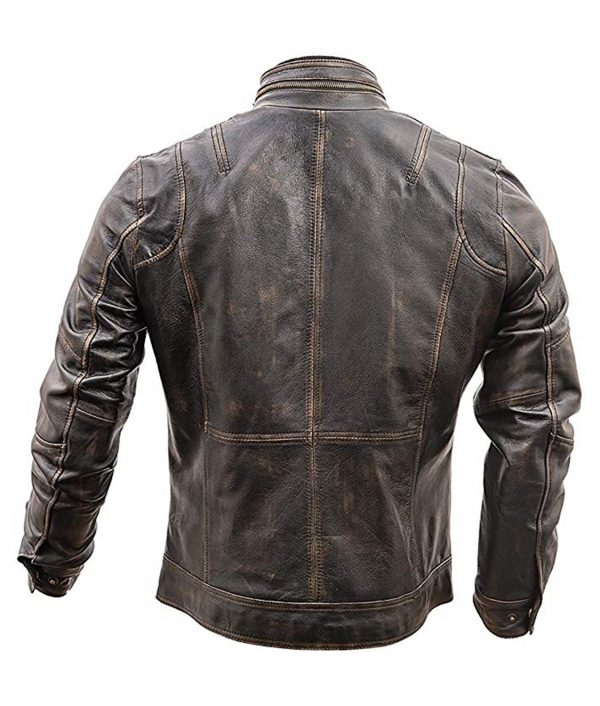 Distressed Brown Cafe Racer Leather Jacket