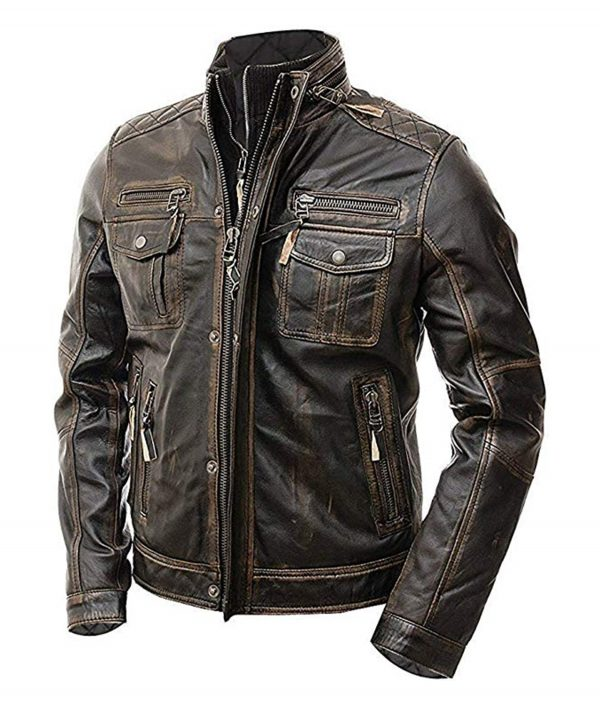 Distressed Brown Cafe Racer Jacket