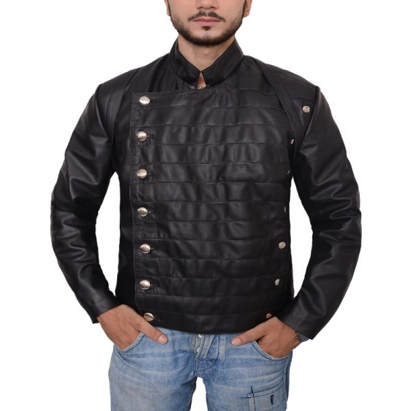 Hector Escaton Stand Up Collar Style Quilted Black Leather Jacket