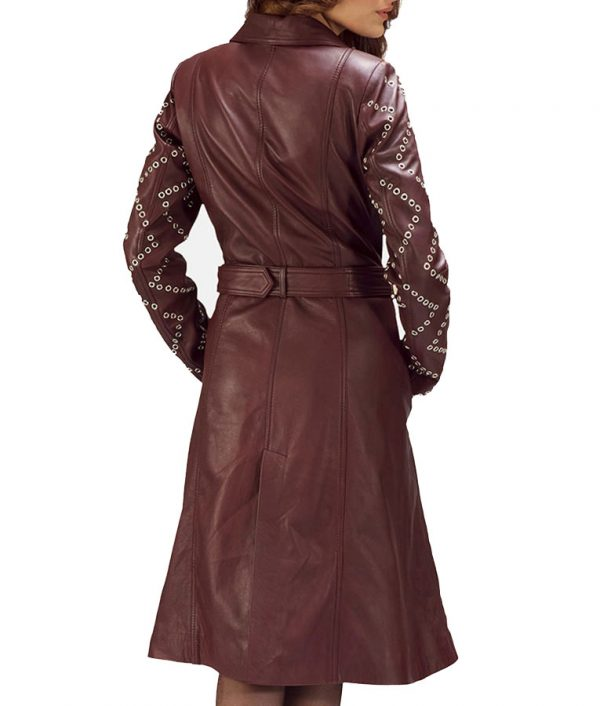 Womens-Maroon-Leather-Trench-Coat