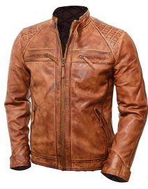 Mens Brown Vintage Shade Quilted Padded Wax Jacket