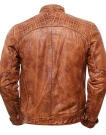 Mens Brown Vintage Shade Quilted Padded Wax Jacket Back