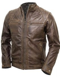Mens Chocolate Brown Vintage Shade Quilted Padded Wax Jacket