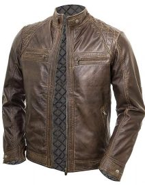 Mens Chocolate Brown Vintage Shade Quilted Padded Wax Jacket Front