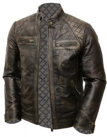 Mens Coffee Brown Vintage Shade Quilted Padded Wax Jacket