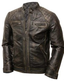 Mens Coffee Brown Vintage Shade Quilted Padded Wax Jacket Front