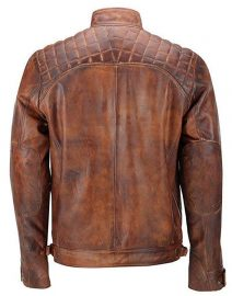 Mens Distressed Brown Vintage Shade Quilted Padded Wax Jacket Back