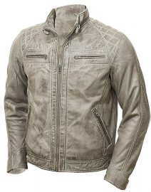 Mens Grey Vintage Shade Quilted Padded Wax Jacket