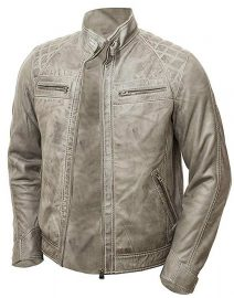 Mens Grey Vintage Shade Quilted Padded Wax Jacket Front