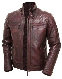 Mens Maroon Vintage Shade Quilted Padded Wax Jacket