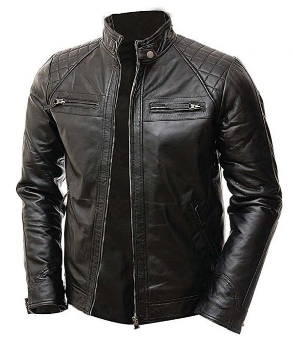 Mens Vintage Shade Quilted Padded Wax Jacket Image 2