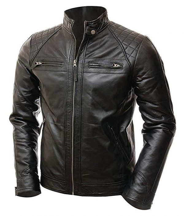 Mens Vintage Shade Quilted Padded Wax Jacket Image 3