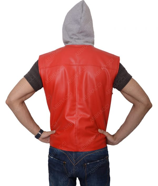 Mens-Red-Hooded-Leather-Vest
