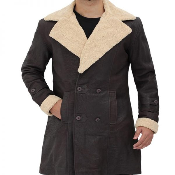 Superfly Turn Down Fur Collar Style Shearling Brown Coat