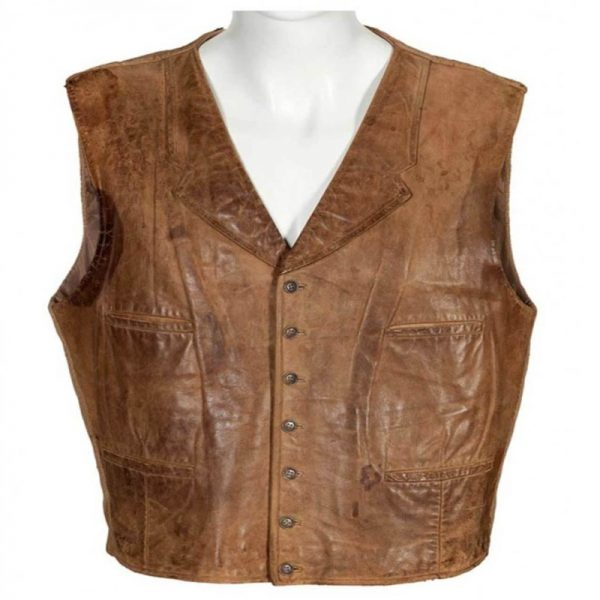The Cowboys Slimfit Casual Style Distressed Brown Leather Vest