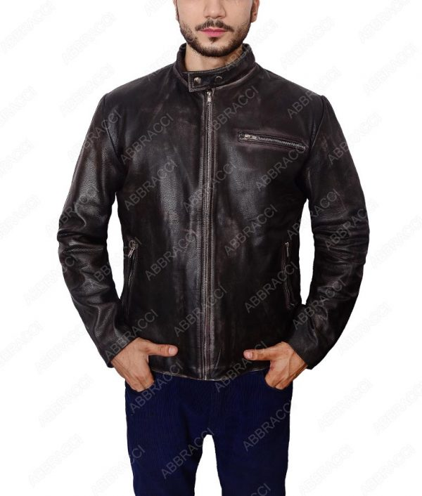 Black-Distressed-Leather-Biker-Jacket