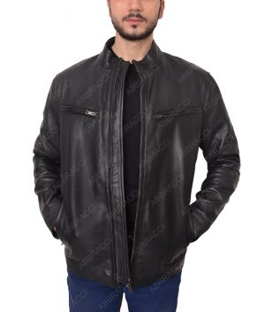 Mens-Black-Cafe-Racer-Jacket
