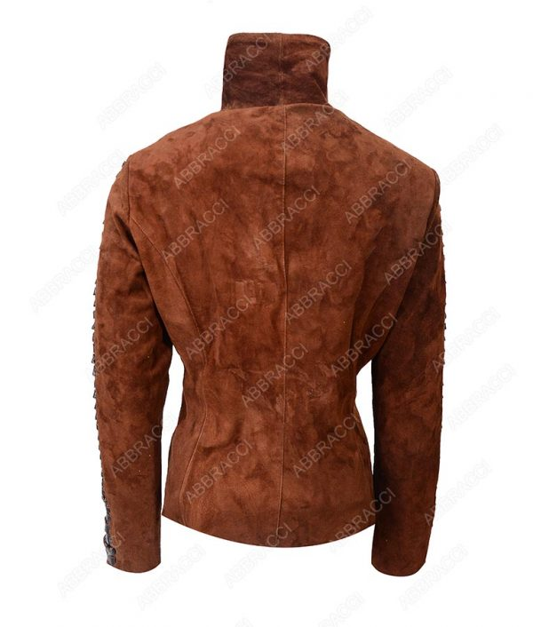 Stand-Collar-Brown-Suede-Leather-Jacket