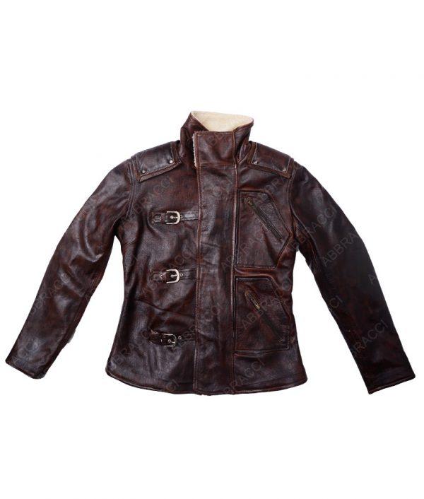 Wolfenstein-2-Brown-Leather-Fur-Collar-Jacket