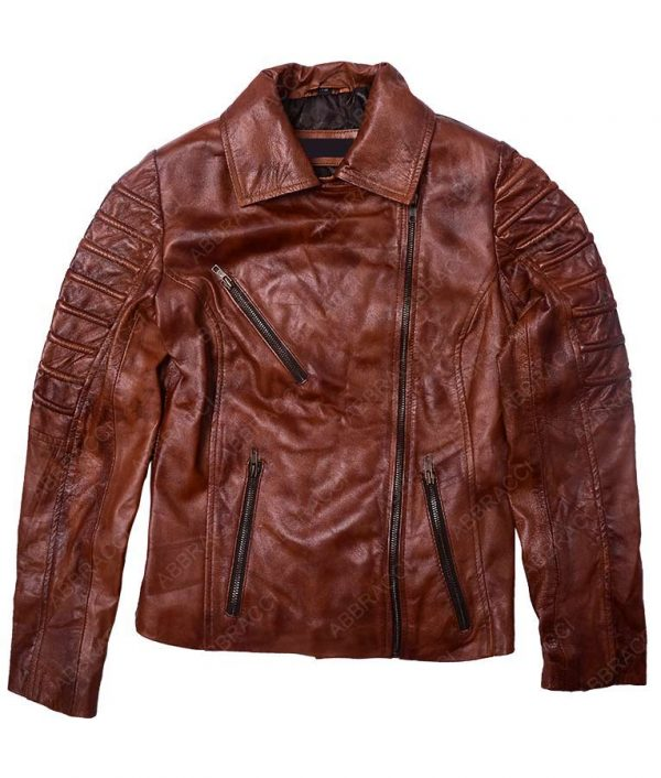 Tan-Brown-Distressed-leather-Moto-Jacket