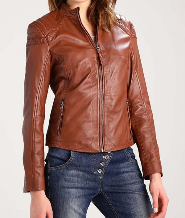 Womens-Brown-Zipper-Outfit