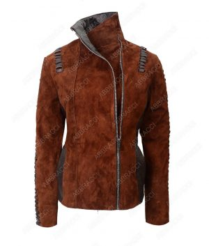 Womens-Brown-Suede-Leather-Jacket