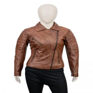 Womens Tan Brown Moto Leather Jacket