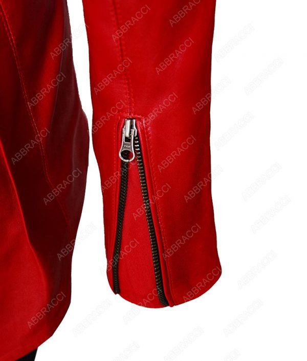 Ladies-Blood-Red-Leather-Jacket