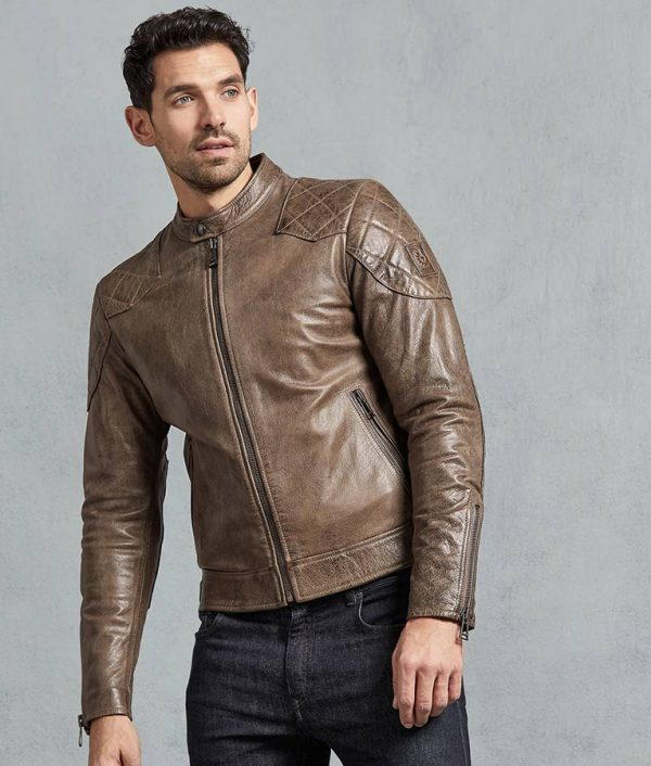 Alfaro Mens Casual Slimfit Bronze Oak Leather Jacket