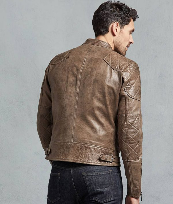 Alfaro Mens Casual Slimfit Café Racer Bronze Oak Leather Jacket
