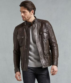 Alston Mens Padded Shoulder Leather Jacket