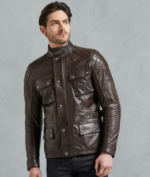Alston Mens Padded Shoulder Brown Leather Jacket