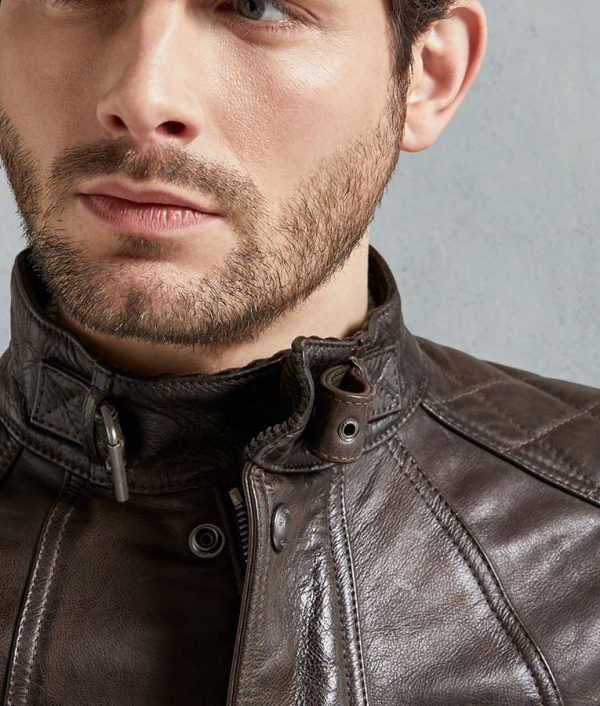 Alston Mens Brown Leather Jacket