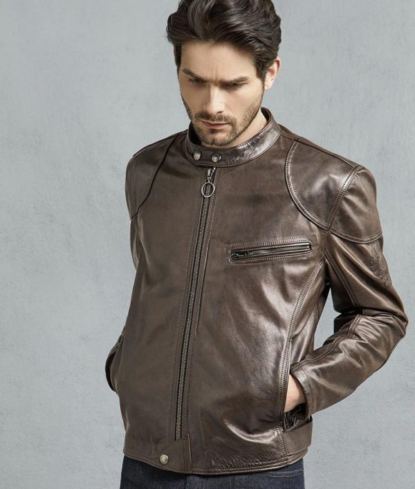 Mens Brown And Black Hand Waxed Leather Motorcycle Jacket