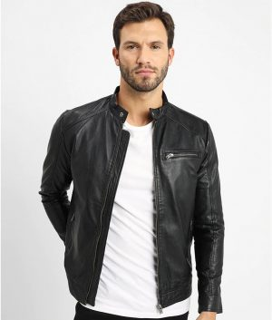 Carlo Mens V Racer Leather Jacket