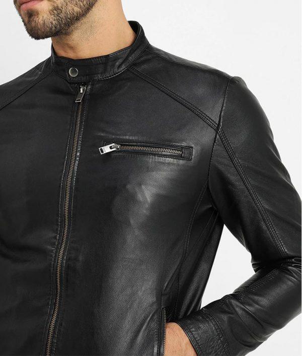 V RacerMandarin Collar Black Leather Jacket