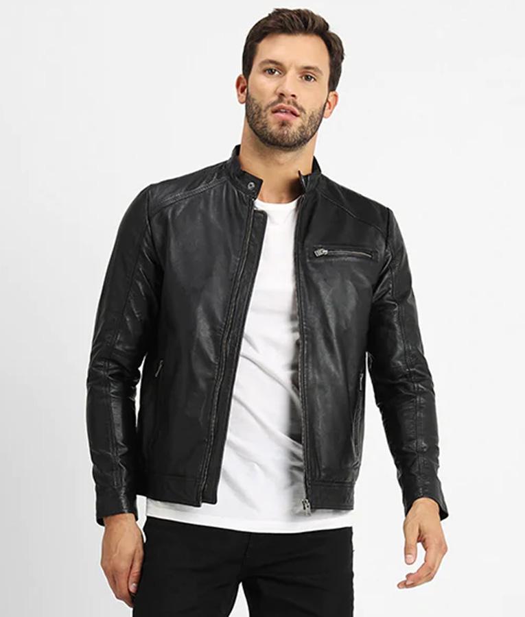 Carlo Mens V Racer Mandarin Collar Black Leather Jacket
