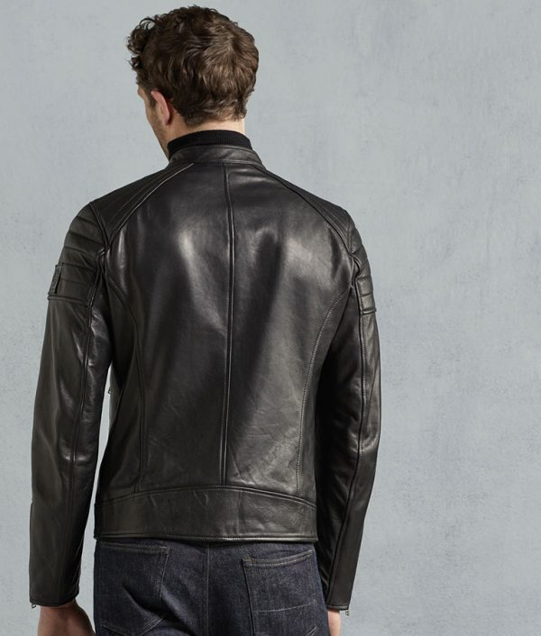 Chambers Mens Tumbled Leather Slimfit Biker Jacket