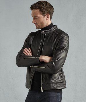 Chambers Mens Black Tumbled Leather Jacket