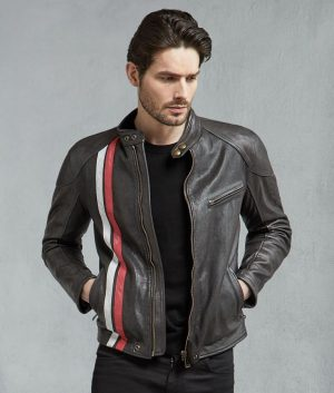 Cortez Biker Style Mens Black Red Ivory Motorcycle Jacket