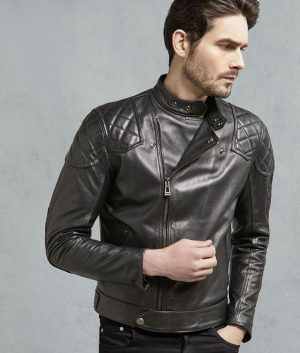 Mens Black Horse Hide Slimfit Biker Leather Jacket