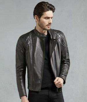 Earl Mens Black Horse Hide Slimfit Biker Jacket