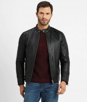 Ellis Mens Antique Press Stud Collar Black Biker Jacket
